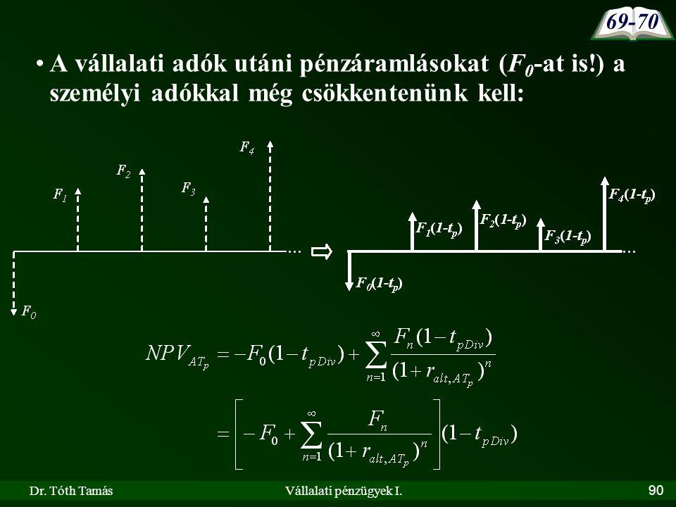 Dr. Tóth TamásVállalati pénzügyek I.90 •A vállalati adók utáni pénzáramlásokat (F 0 -at is!) a személyi adókkal még csökkentenünk kell: 69-70