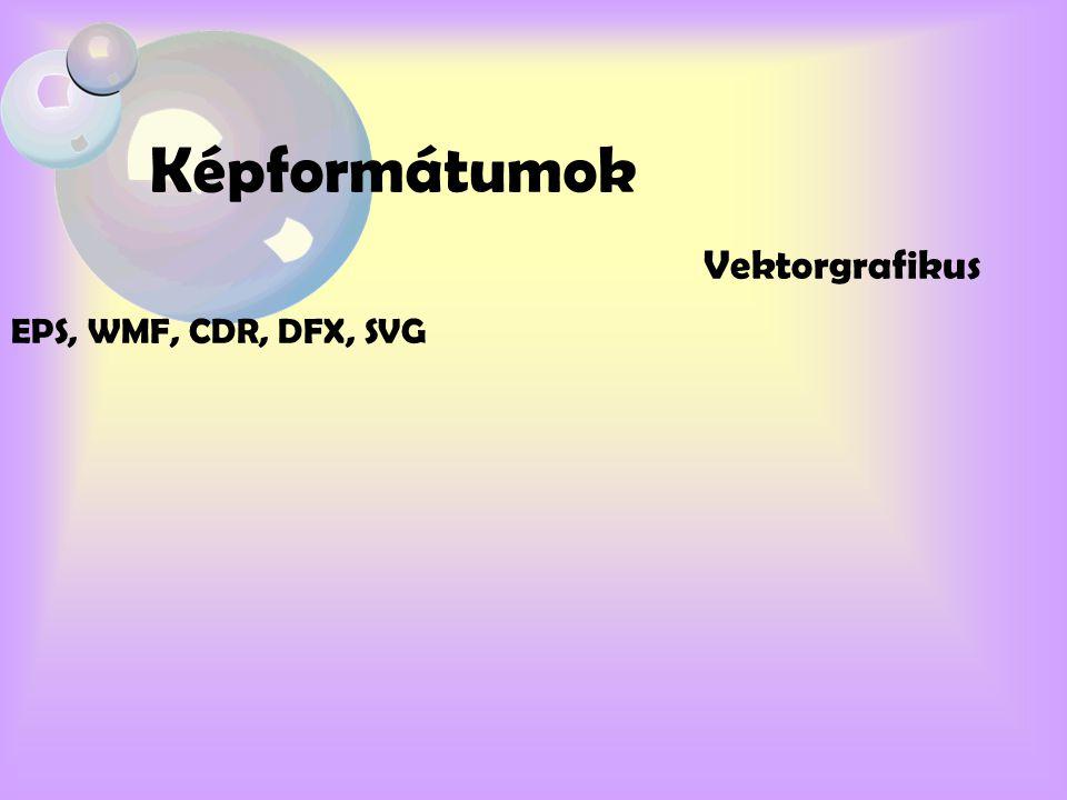 Képformátumok Vektorgrafikus EPS, WMF, CDR, DFX, SVG