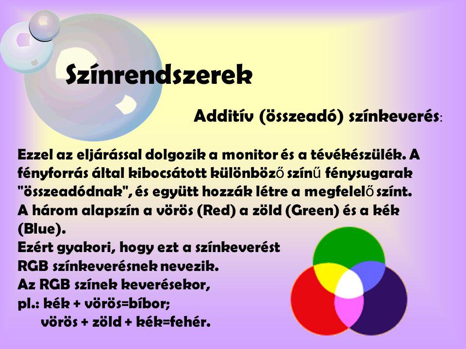 Színrendszerek Additív (összeadó) színkeverés : Ezzel az eljárással dolgozik a monitor és a tévékészülék. A fényforrás által kibocsátott különböz ő sz