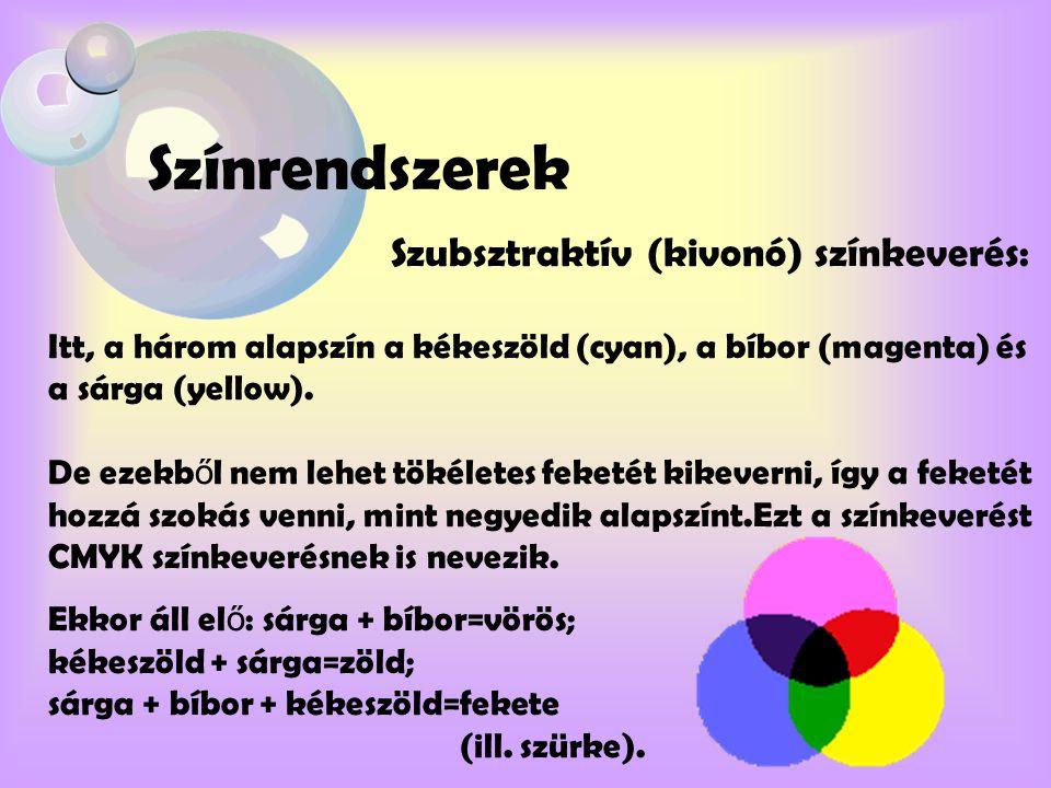 Színrendszerek Szubsztraktív (kivonó) színkeverés: Itt, a három alapszín a kékeszöld (cyan), a bíbor (magenta) és a sárga (yellow). De ezekb ő l nem l