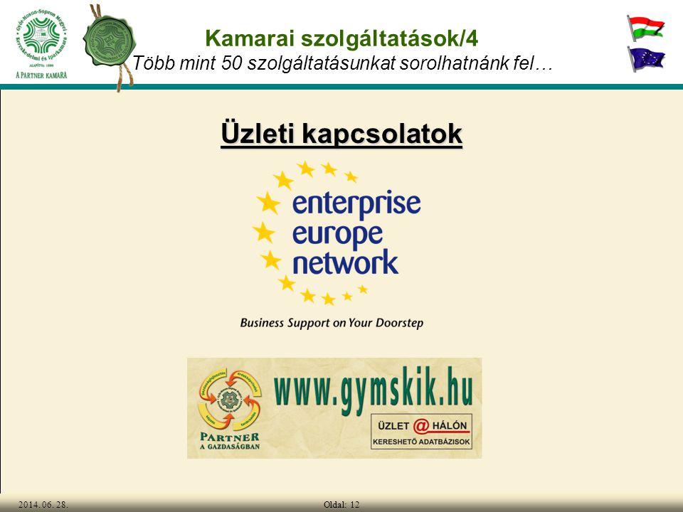 Oldal: 122014. 06. 28. Kamarai szolgáltatások/4 Több mint 50 szolgáltatásunkat sorolhatnánk fel… Üzleti kapcsolatok