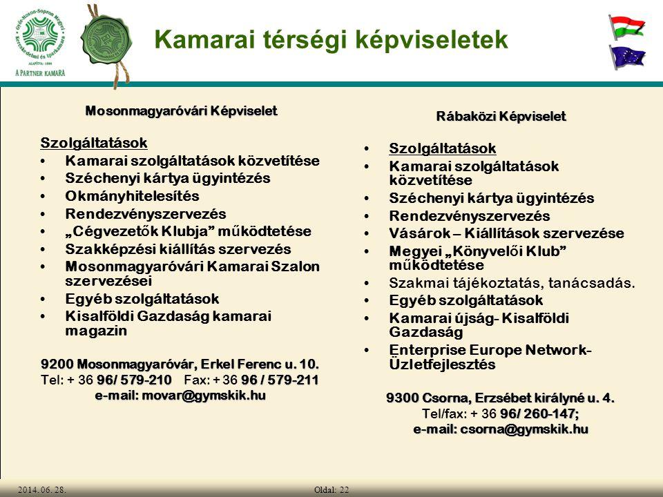 Oldal: 222014. 06. 28. Kamarai térségi képviseletek Mosonmagyaróvári Képviselet Szolgáltatások •Kamarai szolgáltatások közvetítése •Széchenyi kártya ü