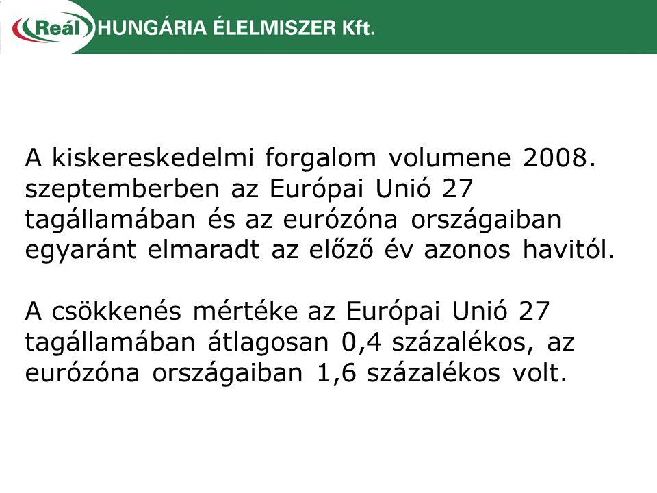A kiskereskedelmi forgalom volumene 2008. szeptemberben az Európai Unió 27 tagállamában és az eurózóna országaiban egyaránt elmaradt az előző év azono