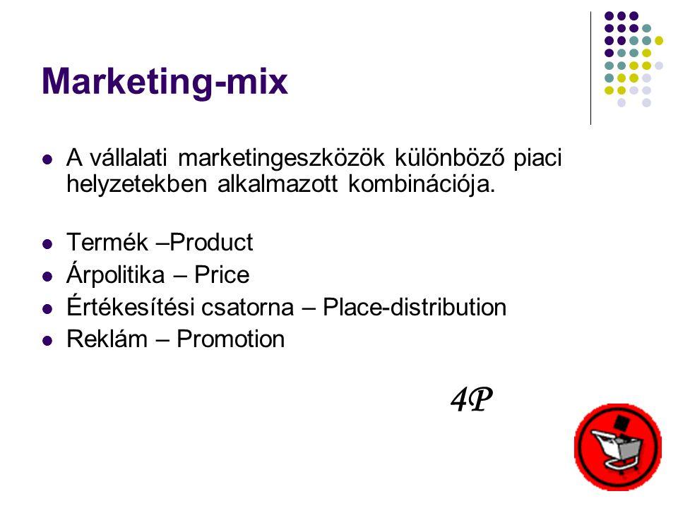 Marketing-mix  A vállalati marketingeszközök különböző piaci helyzetekben alkalmazott kombinációja.  Termék –Product  Árpolitika – Price  Értékesí