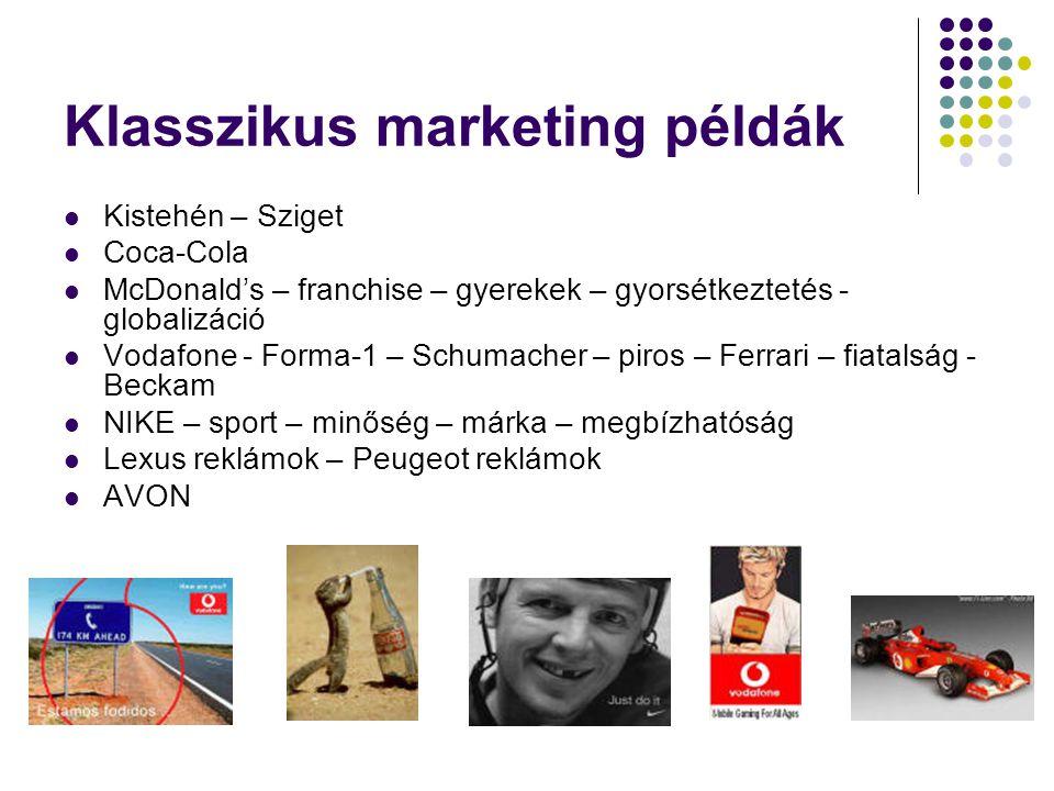Klasszikus marketing példák  Kistehén – Sziget  Coca-Cola  McDonald's – franchise – gyerekek – gyorsétkeztetés - globalizáció  Vodafone - Forma-1