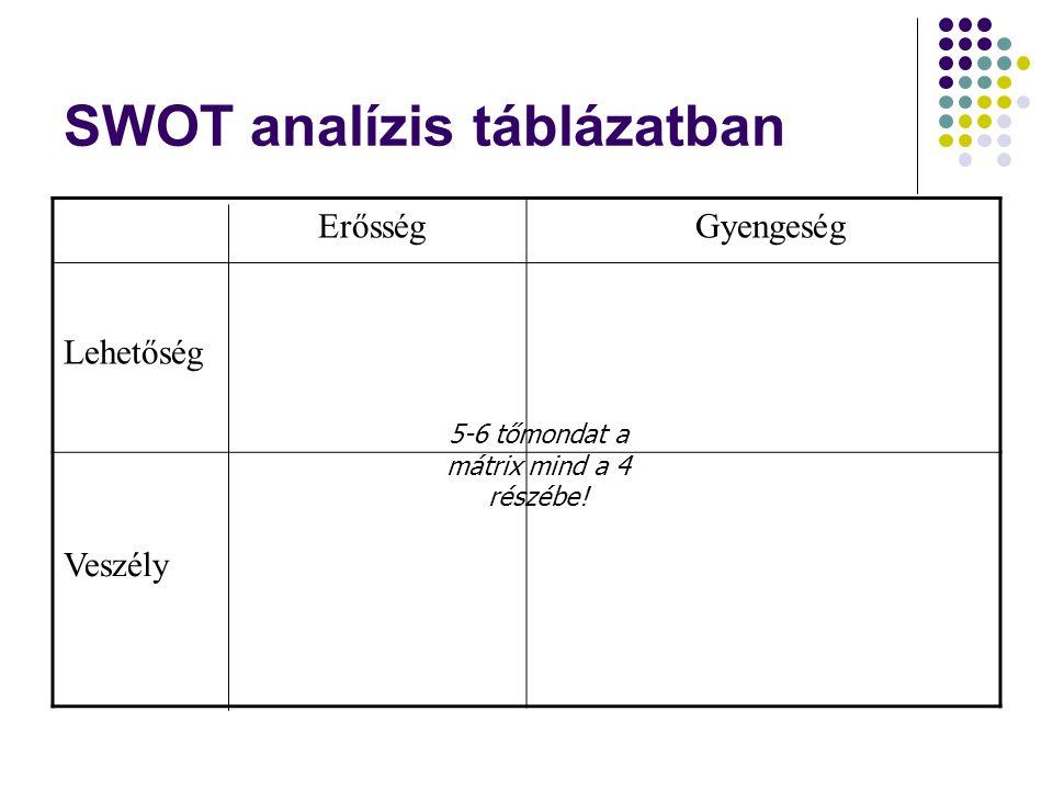 SWOT analízis táblázatban Erősség Lehetőség Gyengeség Veszély 5-6 tőmondat a mátrix mind a 4 részébe!