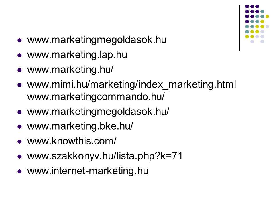 www.marketingmegoldasok.hu  www.marketing.lap.hu  www.marketing.hu/  www.mimi.hu/marketing/index_marketing.html www.marketingcommando.hu/  www.m