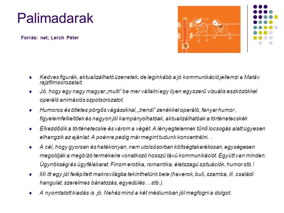 Palimadarak Forrás: net; Lerch Péter  Kedves figurák, aktualizálható üzenetek, de leginkább a jó kommunikáció jellemzi a Matáv rajzfilmsorozatait. 