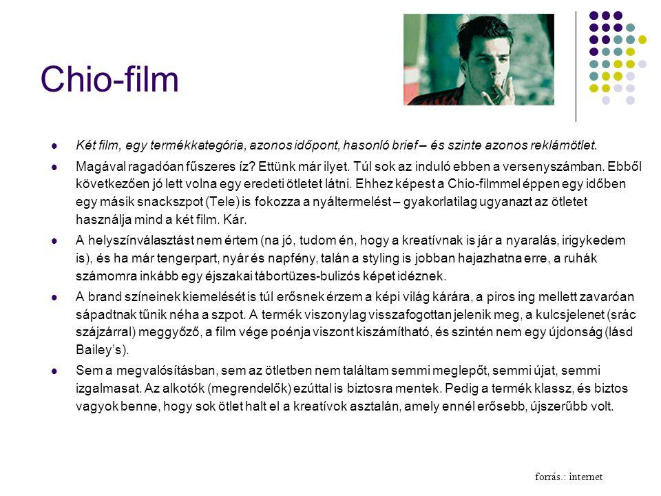 Chio-film  Két film, egy termékkategória, azonos időpont, hasonló brief – és szinte azonos reklámötlet.  Magával ragadóan fűszeres íz? Ettünk már il