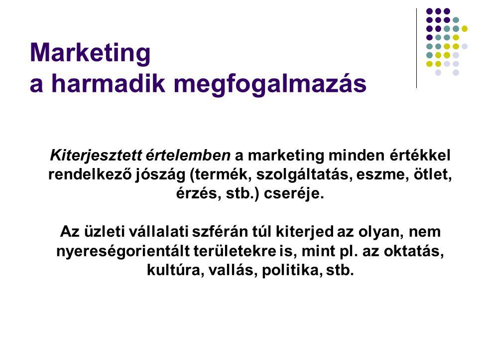 Kiterjesztett értelemben a marketing minden értékkel rendelkező jószág (termék, szolgáltatás, eszme, ötlet, érzés, stb.) cseréje. Az üzleti vállalati