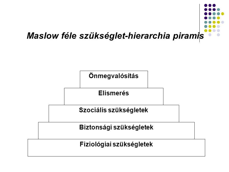 Maslow féle szükséglet-hierarchia piramis Önmegvalósítás Elismerés Szociális szükségletek Biztonsági szükségletek Fiziológiai szükségletek