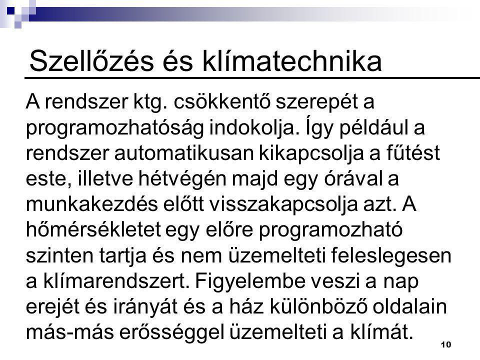 10 Szellőzés és klímatechnika A rendszer ktg.csökkentő szerepét a programozhatóság indokolja.