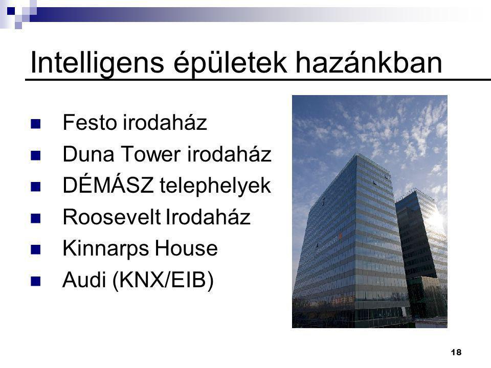 18 Intelligens épületek hazánkban  Festo irodaház  Duna Tower irodaház  DÉMÁSZ telephelyek  Roosevelt Irodaház  Kinnarps House  Audi (KNX/EIB)