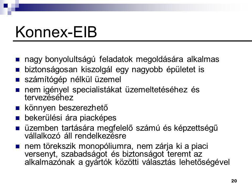 20 Konnex-EIB  nagy bonyolultságú feladatok megoldására alkalmas  biztonságosan kiszolgál egy nagyobb épületet is  számítógép nélkül üzemel  nem igényel specialistákat üzemeltetéséhez és tervezéséhez  könnyen beszerezhető  bekerülési ára piacképes  üzemben tartására megfelelő számú és képzettségű vállalkozó áll rendelkezésre  nem törekszik monopóliumra, nem zárja ki a piaci versenyt, szabadságot és biztonságot teremt az alkalmazónak a gyártók közötti választás lehetőségével