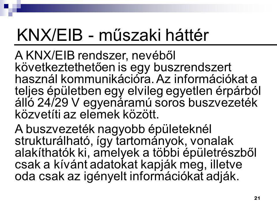 21 KNX/EIB - műszaki háttér A KNX/EIB rendszer, nevéből következtethetően is egy buszrendszert használ kommunikációra. Az információkat a teljes épüle