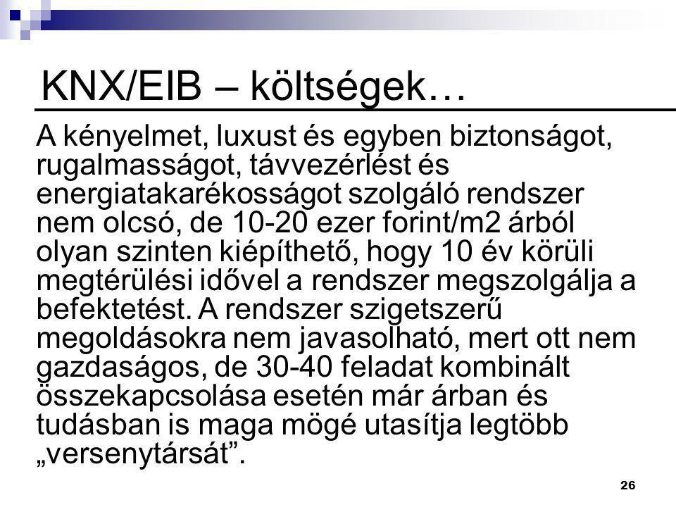 26 KNX/EIB – költségek… A kényelmet, luxust és egyben biztonságot, rugalmasságot, távvezérlést és energiatakarékosságot szolgáló rendszer nem olcsó, d