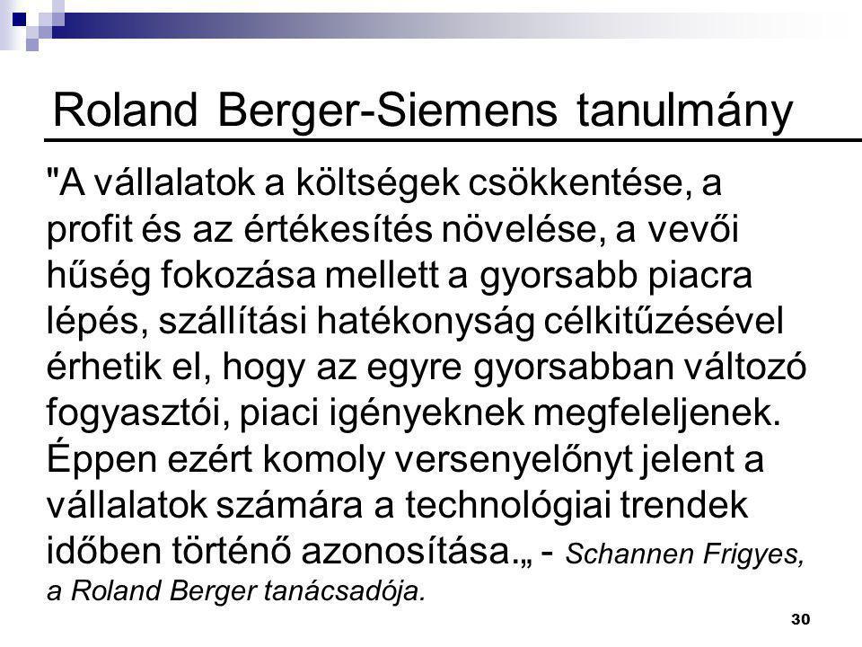 30 Roland Berger-Siemens tanulmány A vállalatok a költségek csökkentése, a profit és az értékesítés növelése, a vevői hűség fokozása mellett a gyorsabb piacra lépés, szállítási hatékonyság célkitűzésével érhetik el, hogy az egyre gyorsabban változó fogyasztói, piaci igényeknek megfeleljenek.