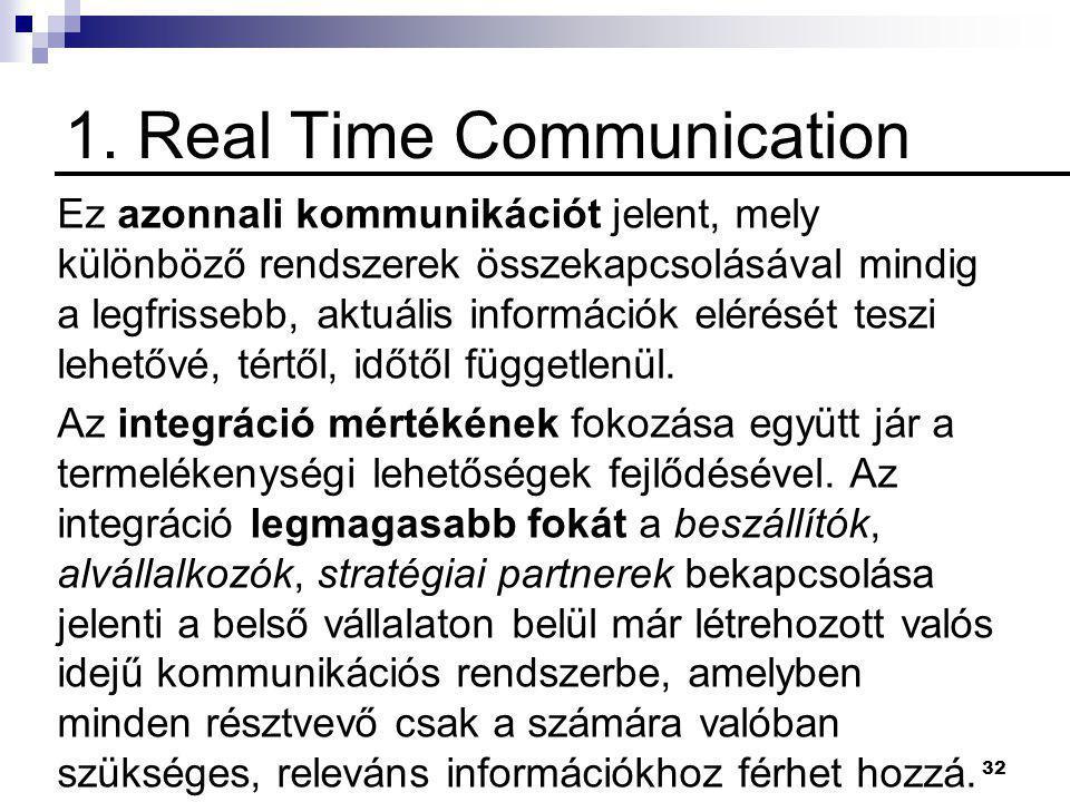 32 1. Real Time Communication Ez azonnali kommunikációt jelent, mely különböző rendszerek összekapcsolásával mindig a legfrissebb, aktuális információ