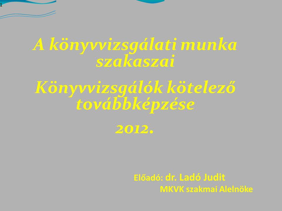 A könyvvizsgálati munka szakaszai Könyvvizsgálók kötelező továbbképzése 2012.
