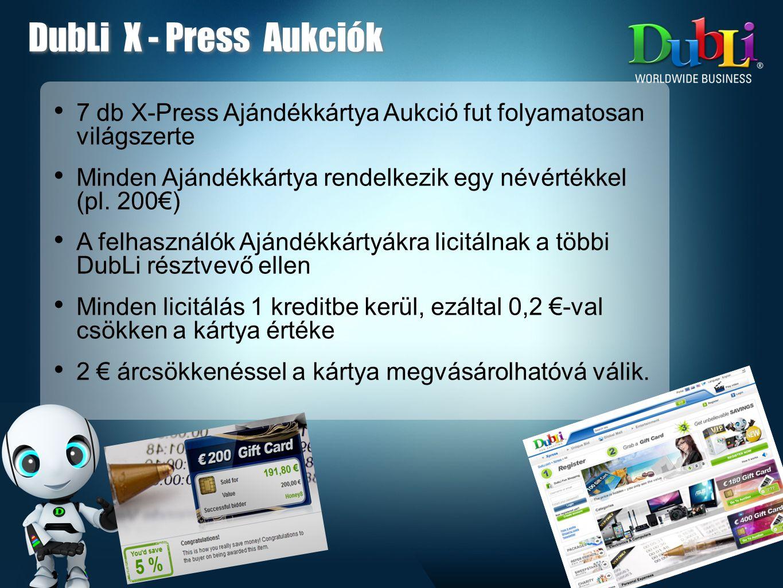 • 7 db X-Press Ajándékkártya Aukció fut folyamatosan világszerte • Minden Ajándékkártya rendelkezik egy névértékkel (pl.