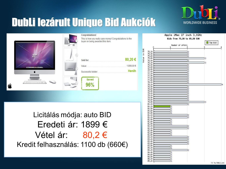 DubLi lezárult Unique Bid Aukciók Licitálás módja: auto BID Eredeti ár: 1899 € Vétel ár: 80,2 € Kredit felhasználás: 1100 db (660€)