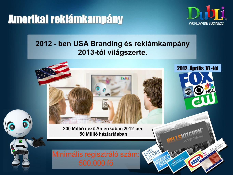 Amerikai reklámkampány 200 Millió néző Amerikában 2012-ben 50 Millió háztartásban 2012.