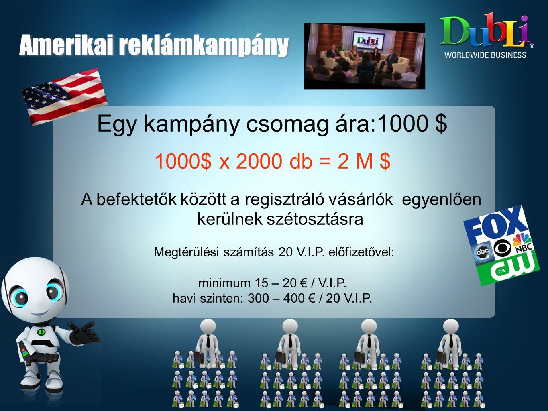 Egy kampány csomag ára:1000 $ 1000$ x 2000 db = 2 M $ A befektetők között a regisztráló vásárlók egyenlően kerülnek szétosztásra Megtérülési számítás 20 V.I.P.