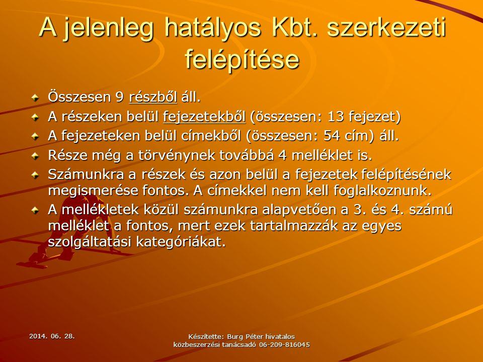 2014. 06. 28.2014. 06. 28.2014. 06. 28. Készítette: Burg Péter hivatalos közbeszerzési tanácsadó 06-209-816045 A jelenleg hatályos Kbt. szerkezeti fel