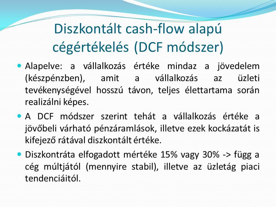 Diszkontált cash-flow alapú cégértékelés (DCF módszer)  Alapelve: a vállalkozás értéke mindaz a jövedelem (készpénzben), amit a vállalkozás az üzleti tevékenységével hosszú távon, teljes élettartama során realizálni képes.