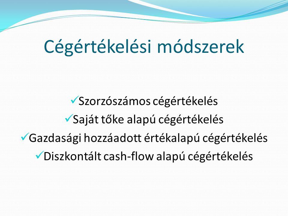 Cégértékelési módszerek  Szorzószámos cégértékelés  Saját tőke alapú cégértékelés  Gazdasági hozzáadott értékalapú cégértékelés  Diszkontált cash-flow alapú cégértékelés