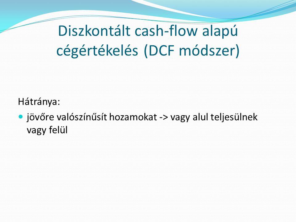 Diszkontált cash-flow alapú cégértékelés (DCF módszer) Hátránya:  jövőre valószínűsít hozamokat -> vagy alul teljesülnek vagy felül