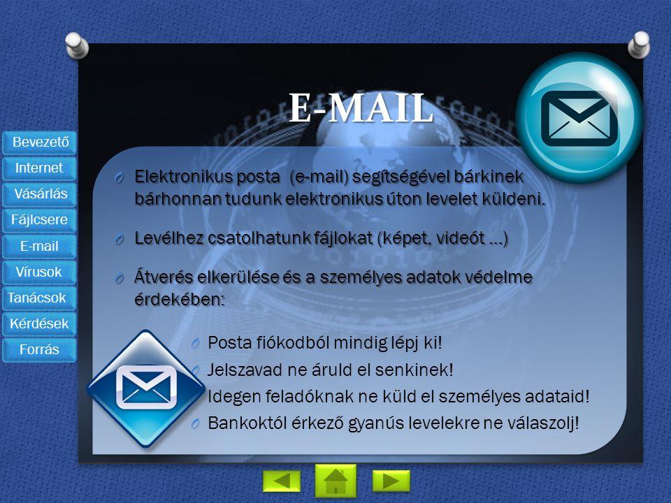 E-MAIL O Elektronikus posta (e-mail) segítségével bárkinek bárhonnan tudunk elektronikus úton levelet küldeni. O Levélhez csatolhatunk fájlokat (képet