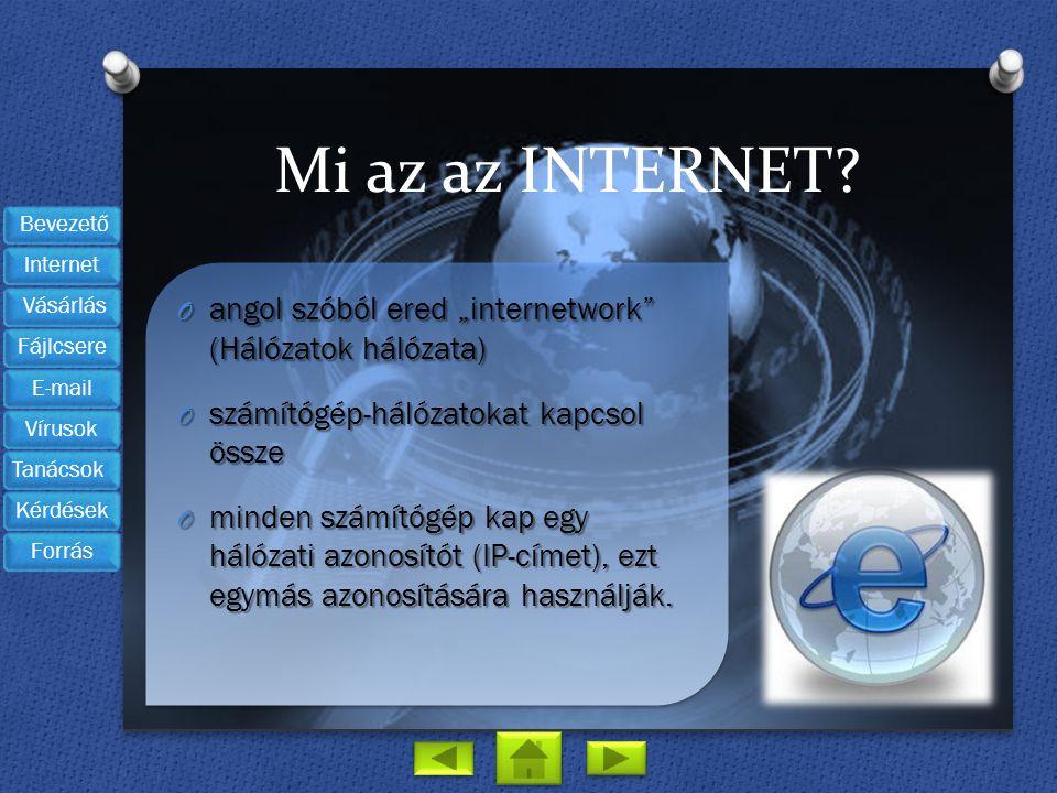 """Mi az az INTERNET? O angol szóból ered """"internetwork"""" (Hálózatok hálózata) O számítógép-hálózatokat kapcsol össze O minden számítógép kap egy hálózati"""