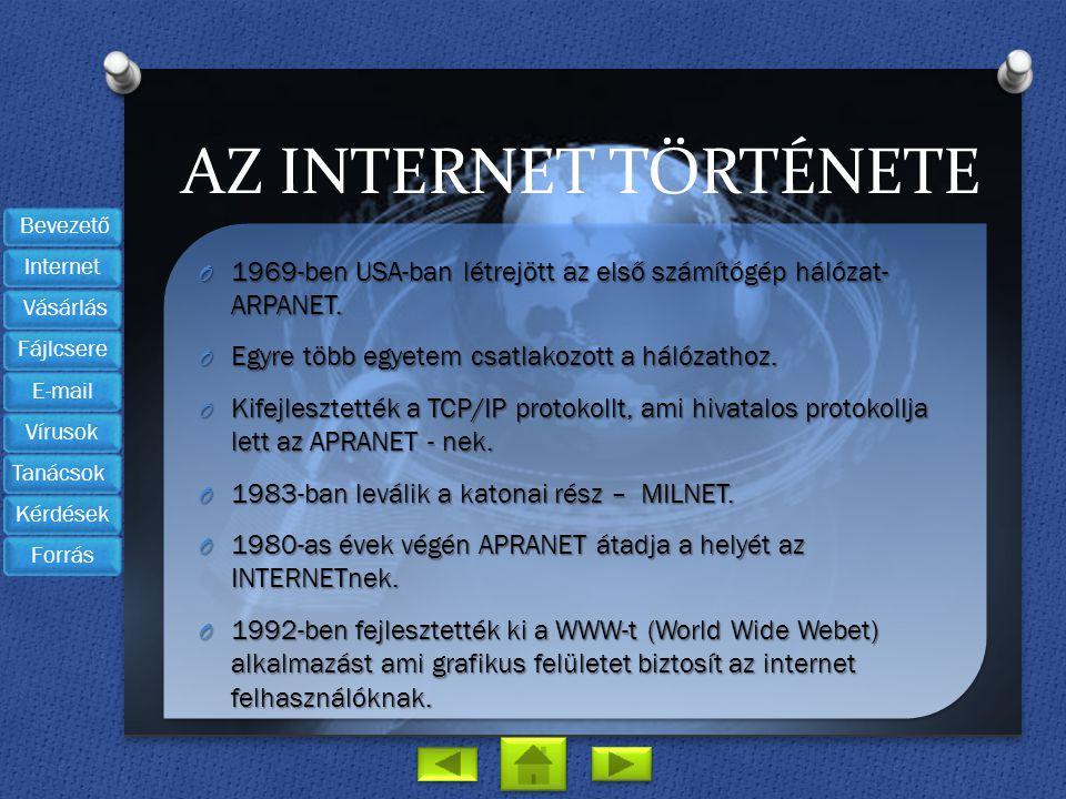 AZ INTERNET TÖRTÉNETE O 1969-ben USA-ban létrejött az első számítógép hálózat- ARPANET. O Egyre több egyetem csatlakozott a hálózathoz. O Kifejlesztet