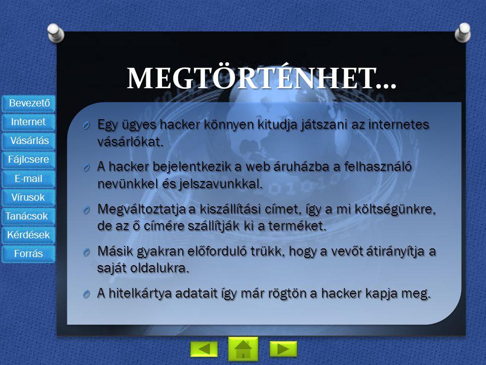 MEGTÖRTÉNHET… O Egy ügyes hacker könnyen kitudja játszani az internetes vásárlókat. O A hacker bejelentkezik a web áruházba a felhasználó nevünkkel és
