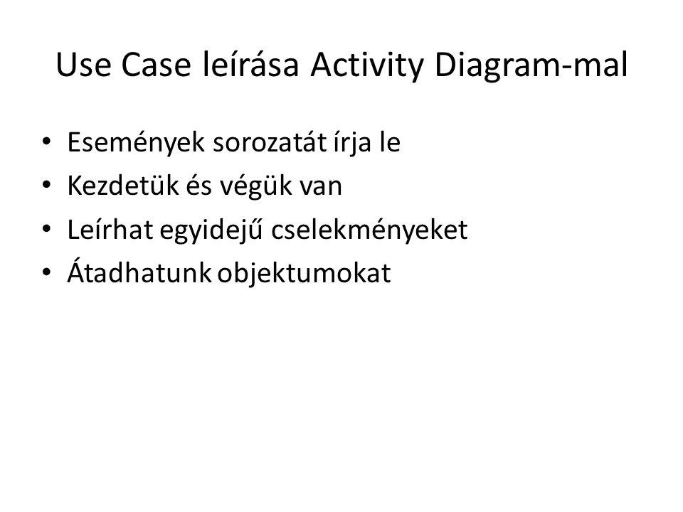 Use Case leírása Activity Diagram-mal • Események sorozatát írja le • Kezdetük és végük van • Leírhat egyidejű cselekményeket • Átadhatunk objektumoka