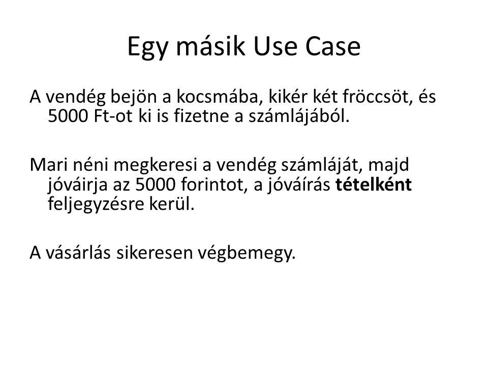 Egy másik Use Case A vendég bejön a kocsmába, kikér két fröccsöt, és 5000 Ft-ot ki is fizetne a számlájából.