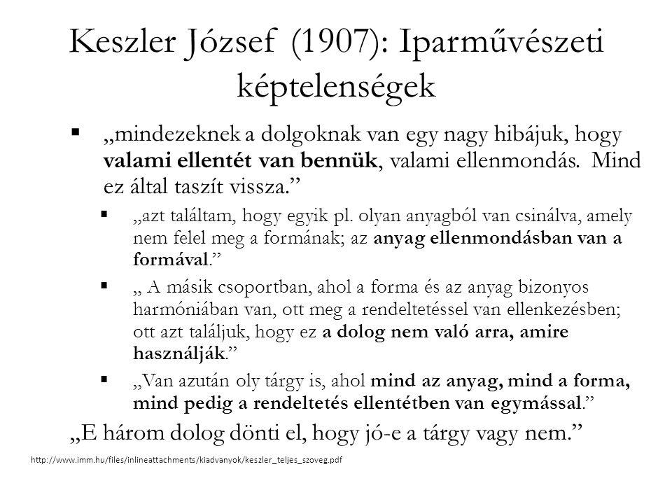"""Keszler József (1907): Iparművészeti képtelenségek  """"mindezeknek a dolgoknak van egy nagy hibájuk, hogy valami ellentét van bennük, valami ellenmondá"""
