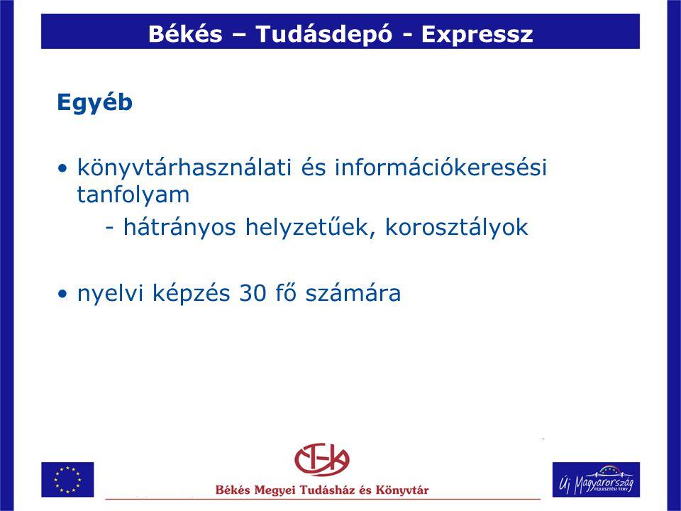 Békés – Tudásdepó - Expressz Egyéb •könyvtárhasználati és információkeresési tanfolyam - hátrányos helyzetűek, korosztályok •nyelvi képzés 30 fő számára