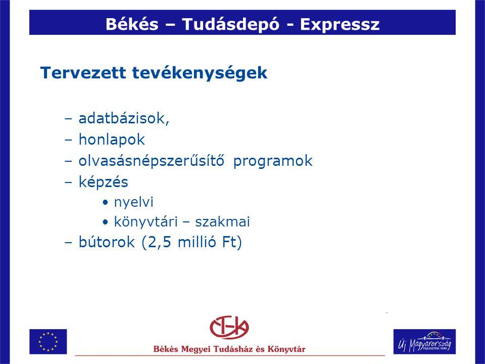 Békés – Tudásdepó - Expressz Tervezett tevékenységek –adatbázisok, –honlapok –olvasásnépszerűsítő programok –képzés •nyelvi •könyvtári – szakmai –bútorok (2,5 millió Ft)