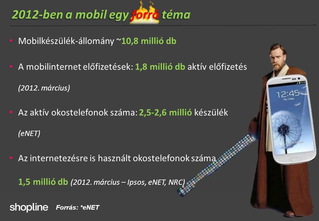 2012-ben a mobil egy forró téma • Mobilkészülék-állomány ~10,8 millió db • A mobilinternet előfizetések: 1,8 millió db aktív előfizetés (2012. március
