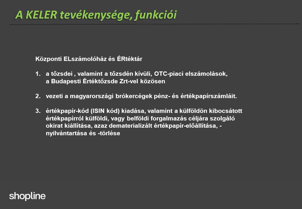 A KELER tevékenysége, funkciói Központi ELszámolóház és ÉRtéktár 1.a tőzsdei, valamint a tőzsdén kívüli, OTC-piaci elszámolások, a Budapesti Értéktőzs