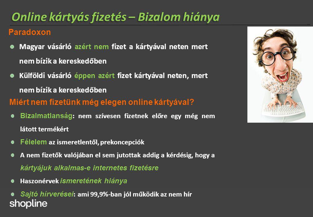 Online kártyás fizetés – Bizalom hiánya Paradoxon Magyar vásárló azért nem fizet a kártyával neten mert nem bízik a kereskedőben Külföldi vásárló éppe