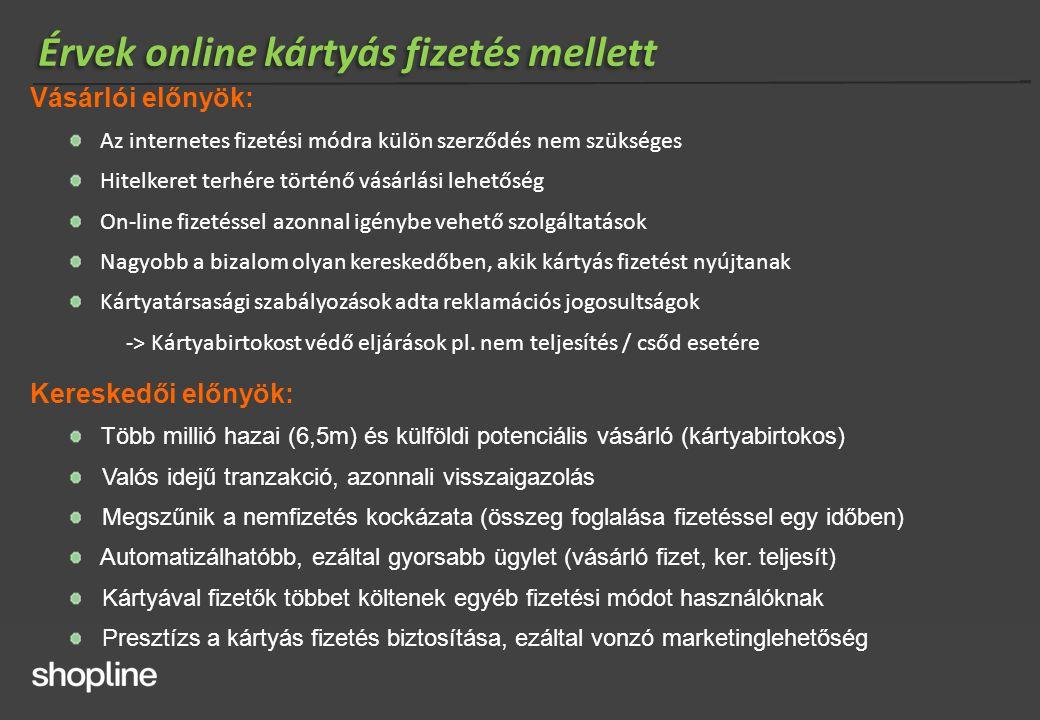 Vásárlói előnyök: Az internetes fizetési módra külön szerződés nem szükséges Hitelkeret terhére történő vásárlási lehetőség On-line fizetéssel azonnal