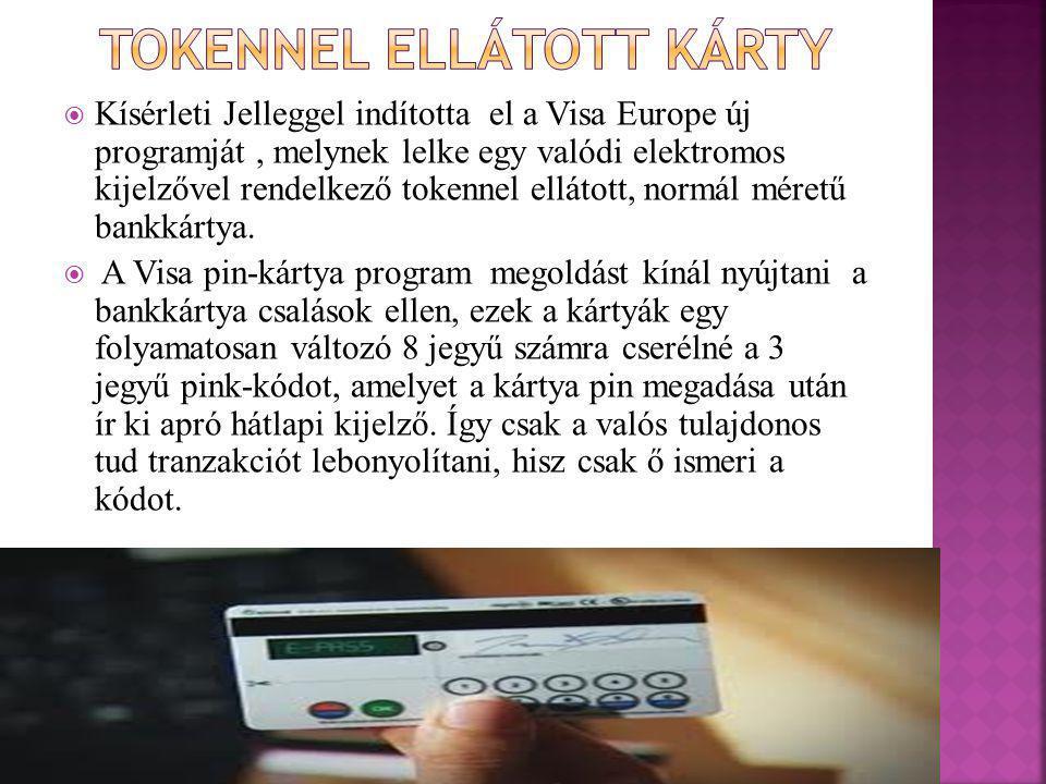 Kísérleti Jelleggel indította el a Visa Europe új programját, melynek lelke egy valódi elektromos kijelzővel rendelkező tokennel ellátott, normál méretű bankkártya.