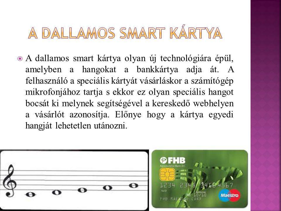  A dallamos smart kártya olyan új technológiára épül, amelyben a hangokat a bankkártya adja át. A felhasználó a speciális kártyát vásárláskor a számí