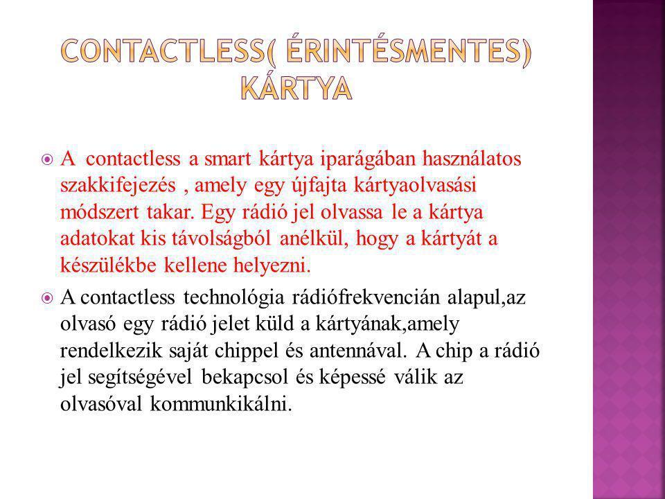  A contactless a smart kártya iparágában használatos szakkifejezés, amely egy újfajta kártyaolvasási módszert takar. Egy rádió jel olvassa le a kárty