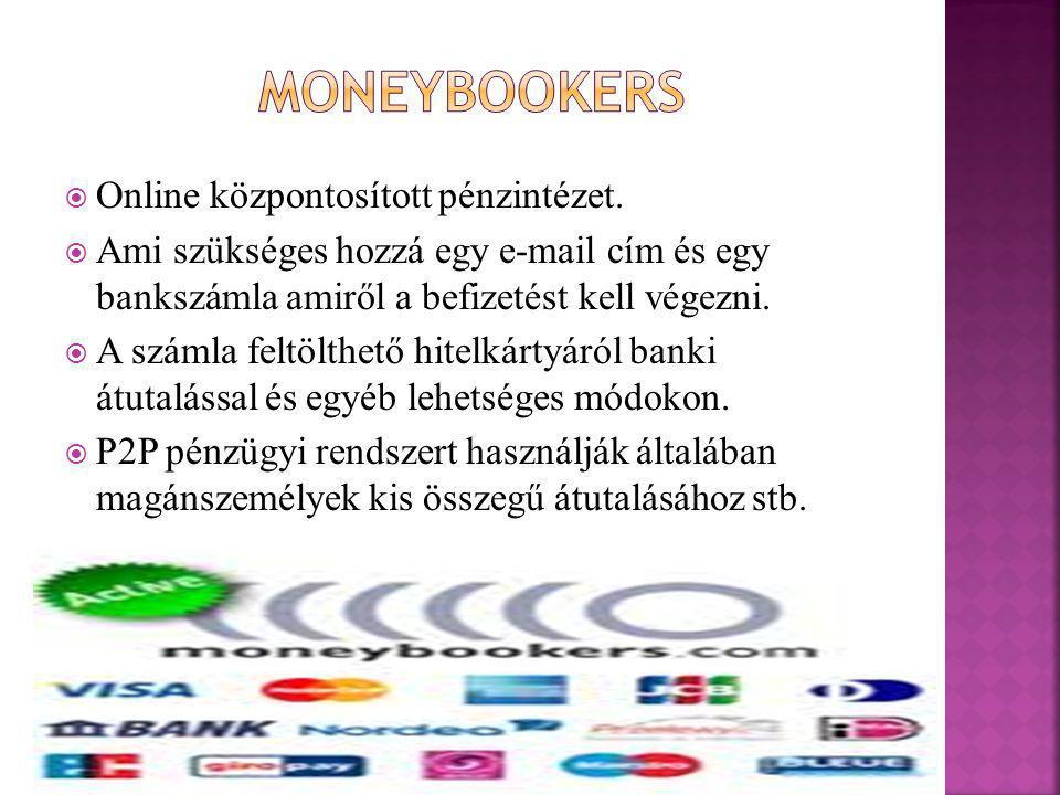  Online központosított pénzintézet.  Ami szükséges hozzá egy e-mail cím és egy bankszámla amiről a befizetést kell végezni.  A számla feltölthető h