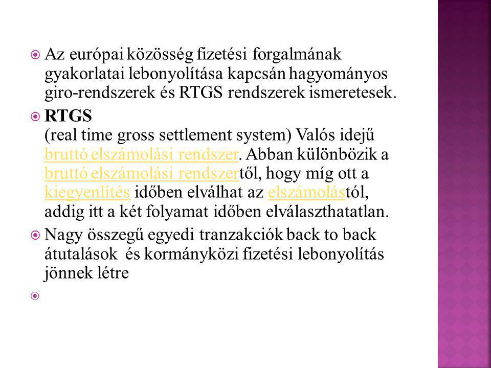  Az európai közösség fizetési forgalmának gyakorlatai lebonyolítása kapcsán hagyományos giro-rendszerek és RTGS rendszerek ismeretesek.  RTGS (real