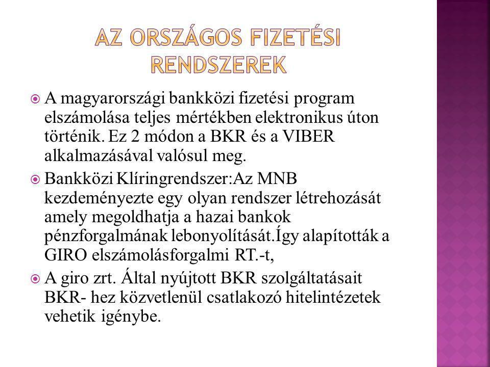  A magyarországi bankközi fizetési program elszámolása teljes mértékben elektronikus úton történik. Ez 2 módon a BKR és a VIBER alkalmazásával valósu